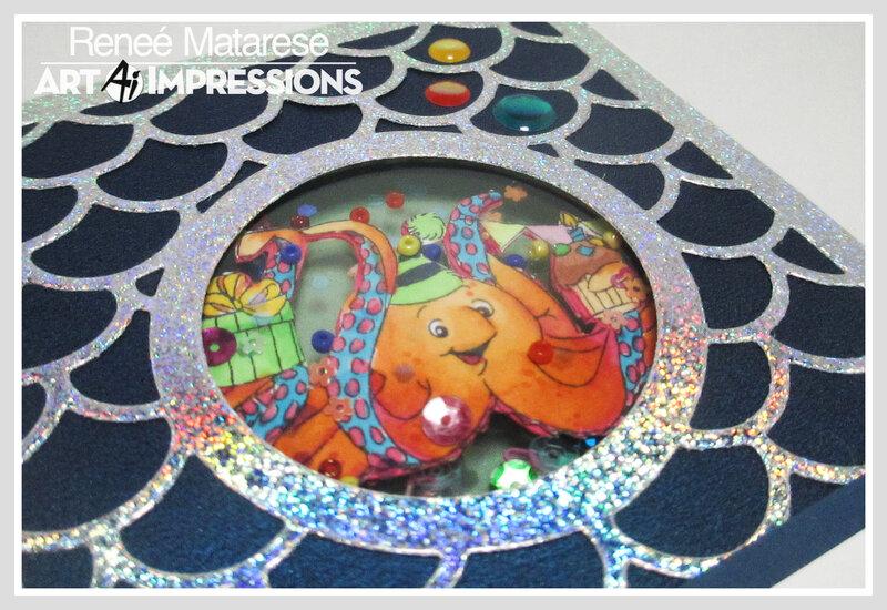 Art Impressions Octopus Shaker card (close up)
