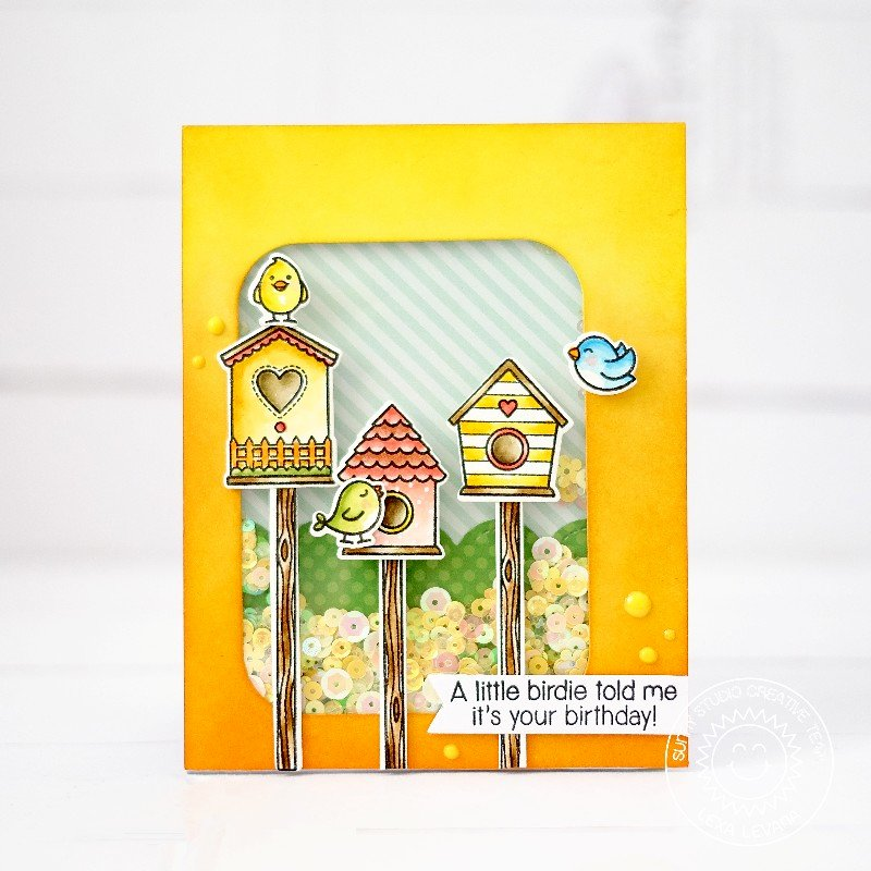 Sunny Studio Stamps A Bird's Life Shaker Card by Lexa Levana