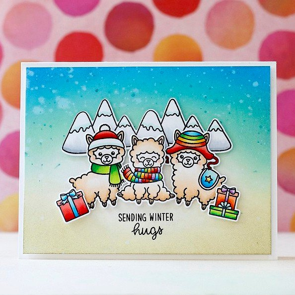Sunny Studio Stamps Alpaca Holiday Card by Laura Bassen