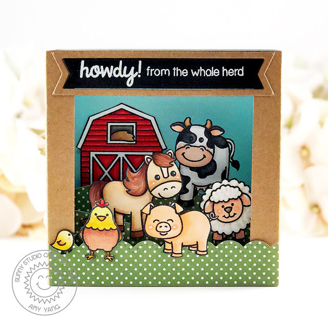 Sunny Studio Stamps Barnyard Buddies Card by Amy Yang