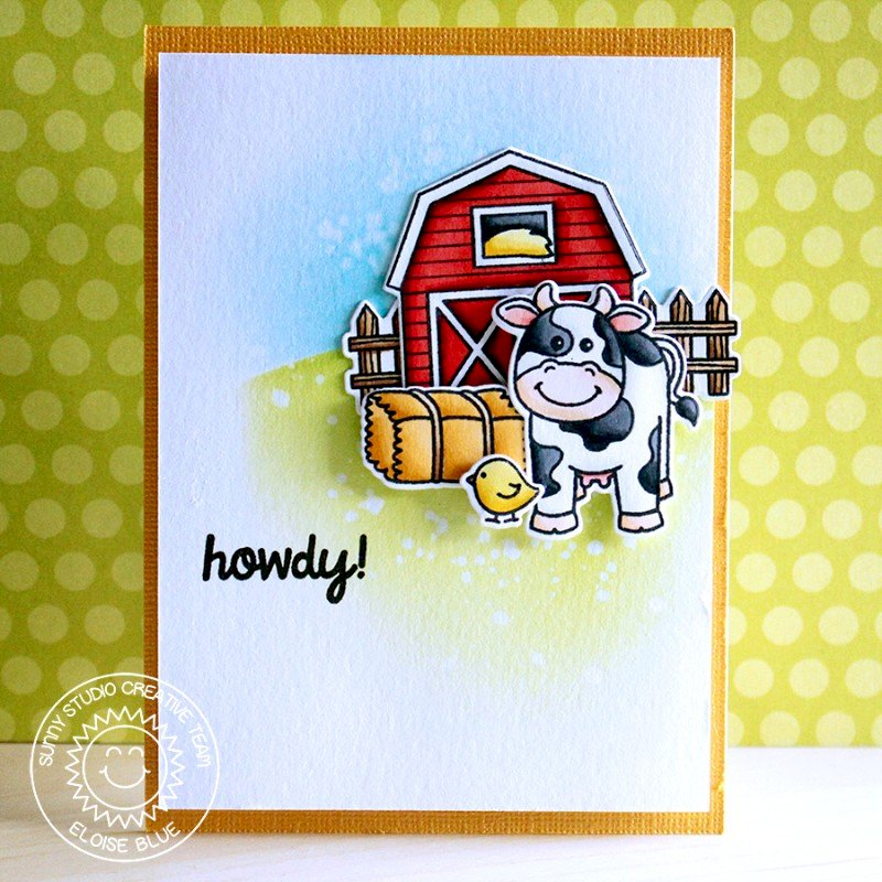 Sunny Studio Stamps Barnyard Buddies Card by Eloise Blue