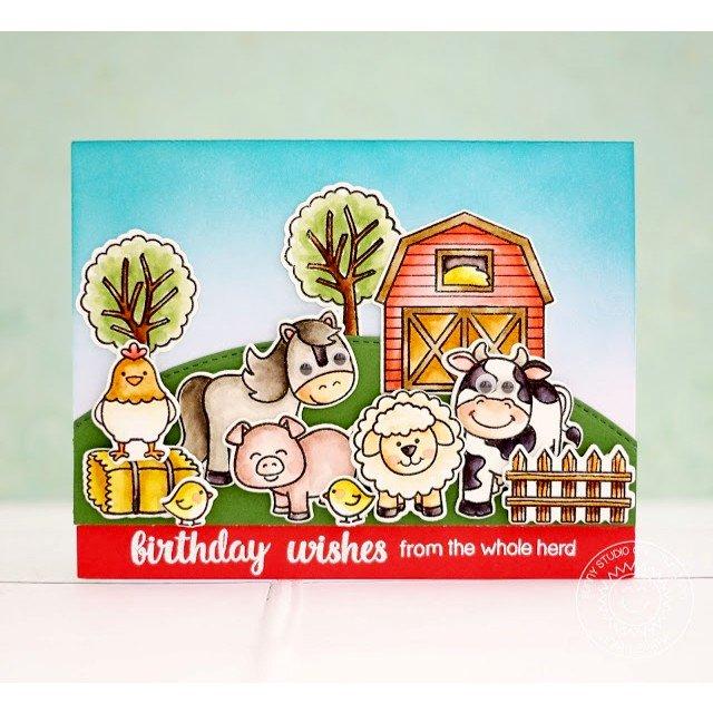 Sunny Studio Stamps Barnyard Buddies Card by Lexa Levana