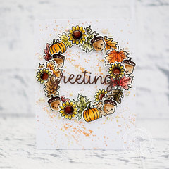 Sunny Studio Stamps Fall Wreath Card by Lexa Levana