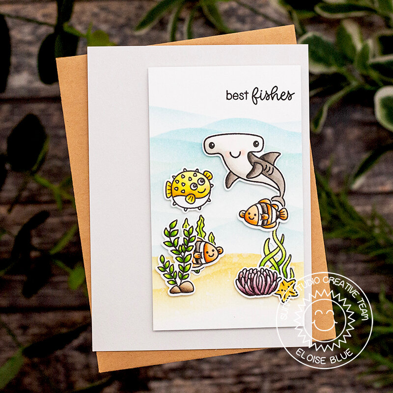 Sunny Studio Stamps Best Fishes Card by Eloise Blue