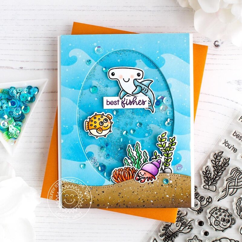 Sunny Studio Stamps Best Fishes Card by Leanne West