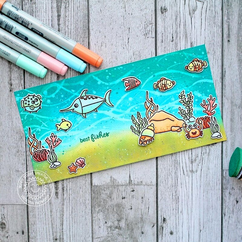 Sunny Studio Stamps Best Fishes Card by Vanessa Menhorn