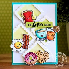 Sunny Studio Breakfast Puns Diagonal Grid Card by Eloise Blue