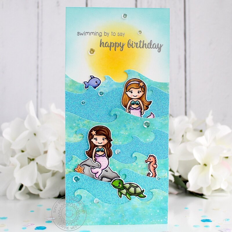 Sunny Studio Stamps Magical Mermaid Waves Card by Leanne West