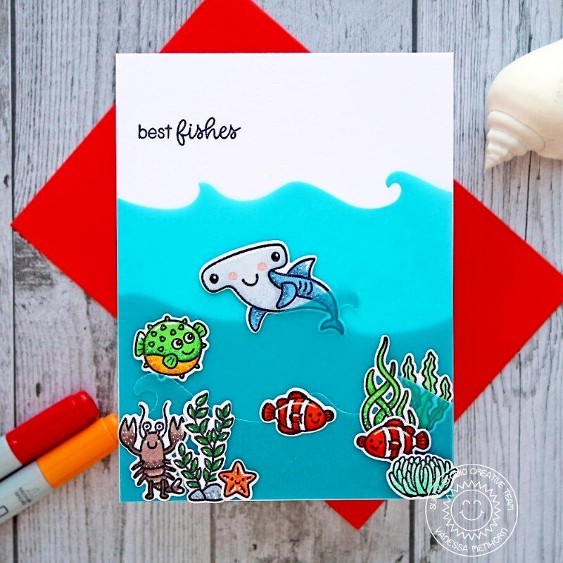 Sunny Studio Stamps Catch A Wave Card by Vanessa Menhorn