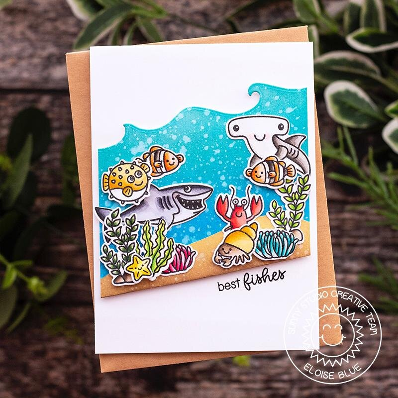 Sunny Studio Stamps Catch A Wave Card by Eloise Blue