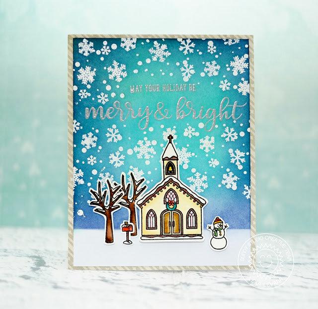 Sunny Studio Christmas Chapel Card by Lexa Levana