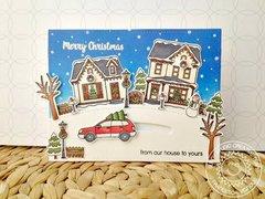 Sunny Studio Christmas Home Slider Card by Francesca Vignoli