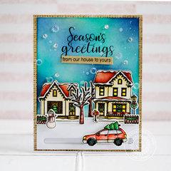 Sunny Studio Christmas Home Slider Card by Lexa Levana