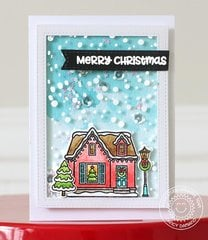 Sunny Studio Christmas Home Shaker Card by Nancy Damiano