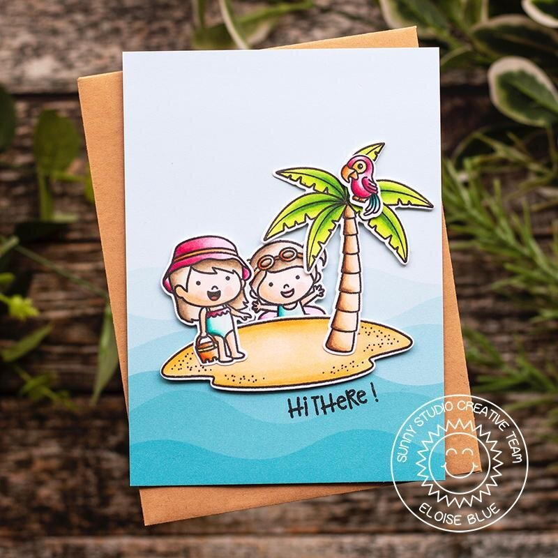 Sunny Studio Stamps Coastal Cuties Card by Eloise Blue