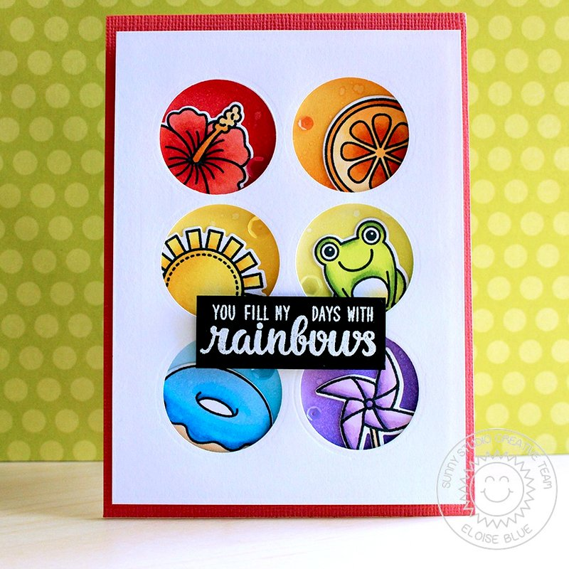 Sunny Studio Stamps Rainbow Grid Card by Eloise Blue