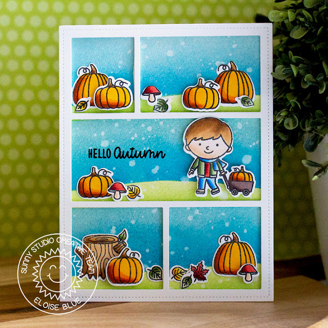 Sunny Studio Stamps Fall Kiddos Card by Eloise Blue