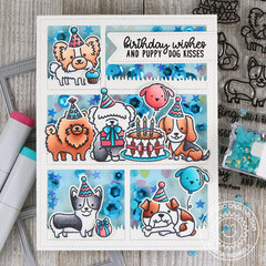 Sunny Studio Stamps Party Pups Shaker Card by Juliana Michaels