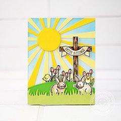 Sunny Studio Easter Wishes Sunburst Cross Card by Lexa Levana