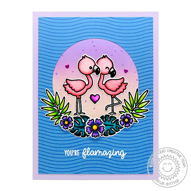 Sunny Studio Stamps Fabulous Flamingos Card by Anja