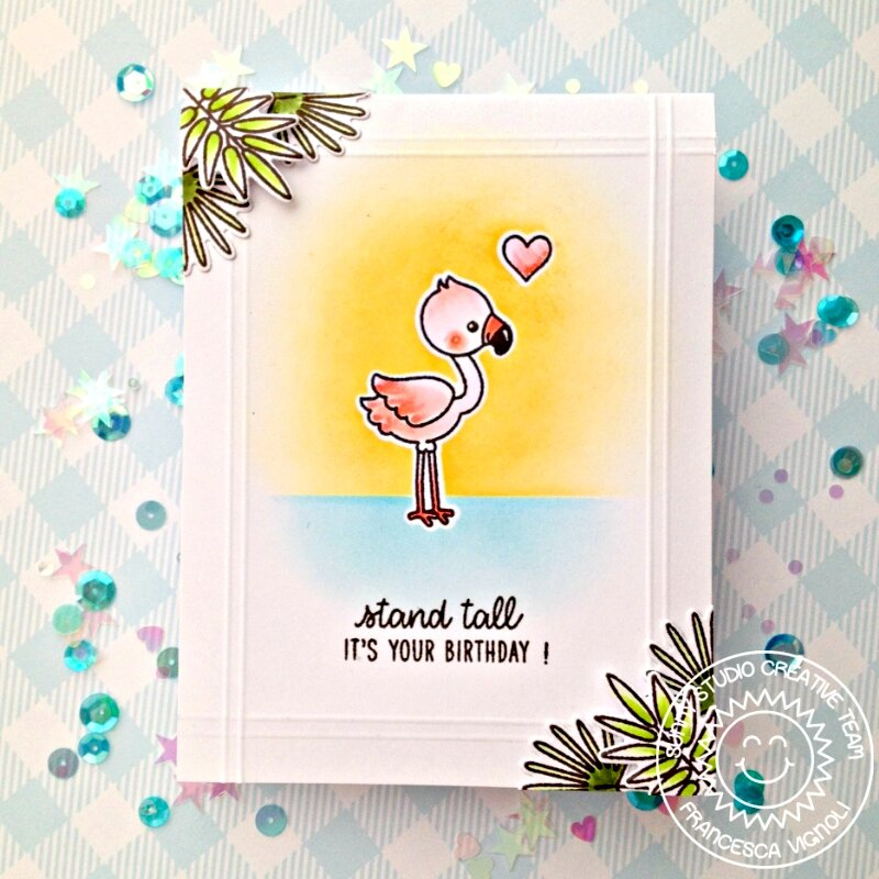 Sunny Studio Stamps Fabulous Flamingos Card by Franci