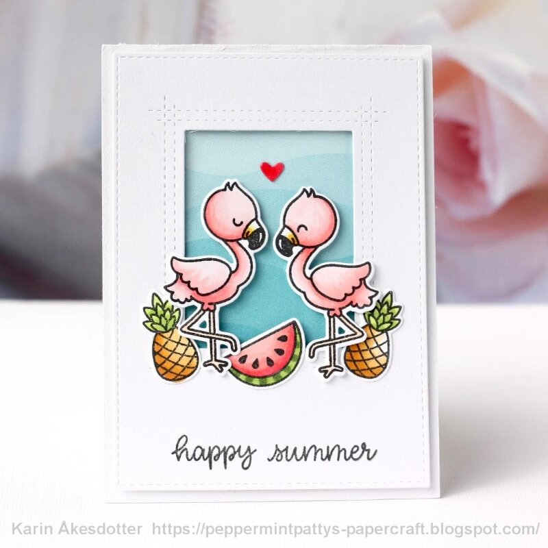 Sunny Studio Stamps Fabulous Flamingos Card by Karin