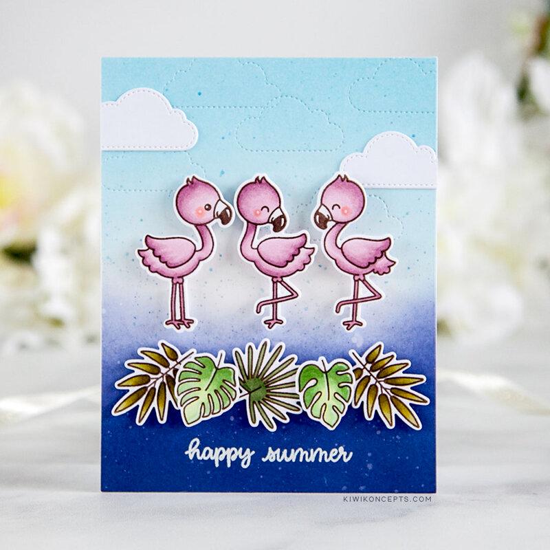 Sunny Studio Stamps Fabulous Flamingos Card by Keeway Tsao