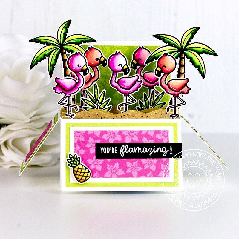 Sunny Studio Stamps Fabulous Flamingos Card by Rachel