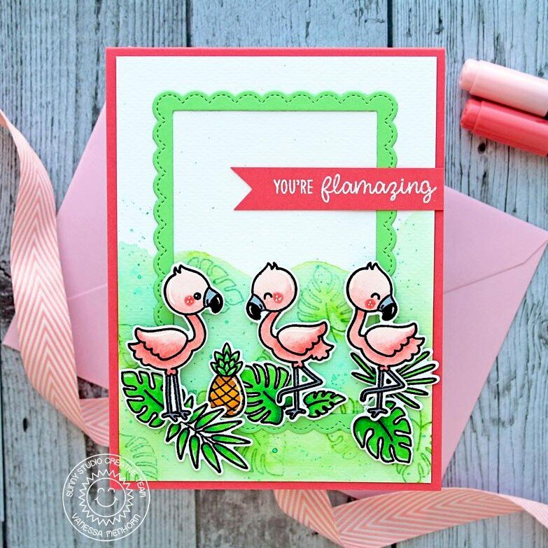 Sunny Studio Stamps Fabulous Flamingos Card by Vanessa Menhorn