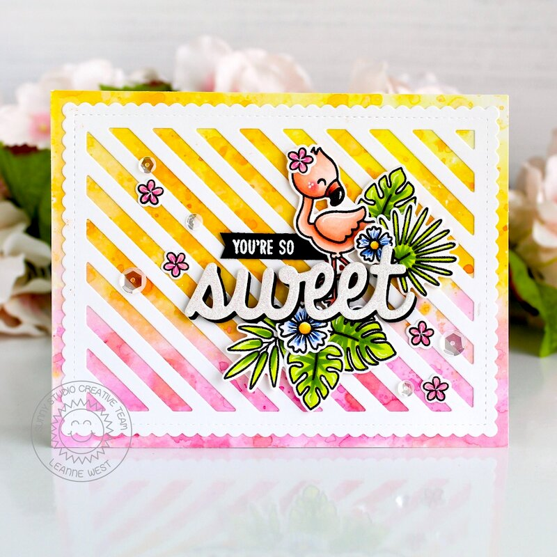 Sunny Studio Stamps Fabulous Flamingos Card by Leanne West