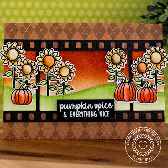 Sunny Studio Stamps Pumpkins & Sunnflowers Card by Eloise Blue
