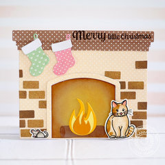Sunny Studio Fireplace Shaped Christmas Card by Lexa Levana