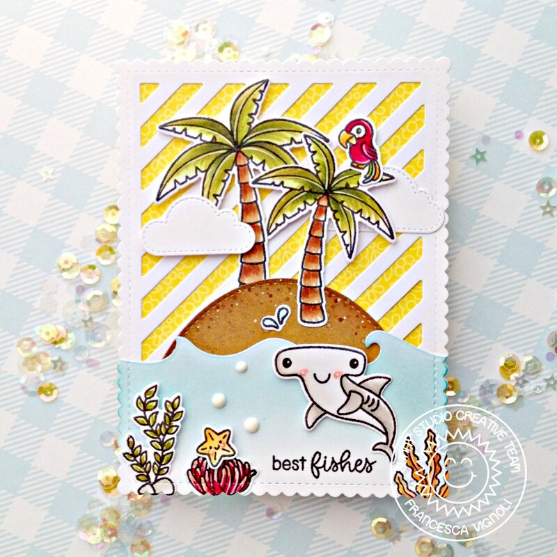Sunny Studio Stamps Best Fishes Beach Card by Franci