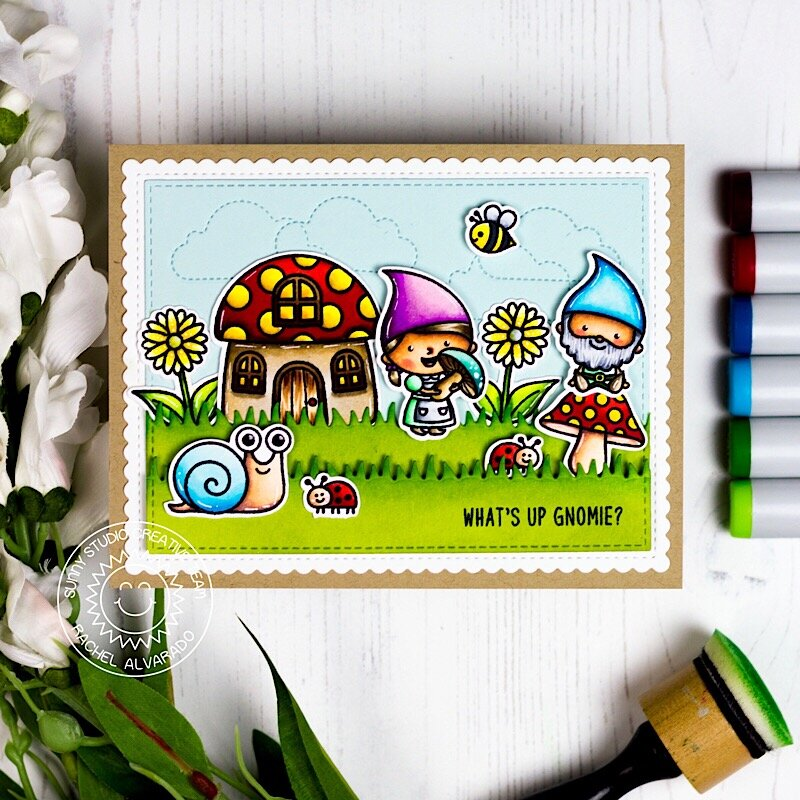 Sunny Studio Stamps Backyard Bugs & Gnome Card by Rachel