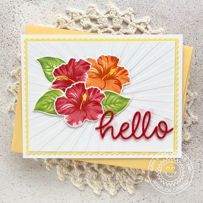 Sunny Studio Stamps Hawaiian Hibiscus Card by Angelica Conrad