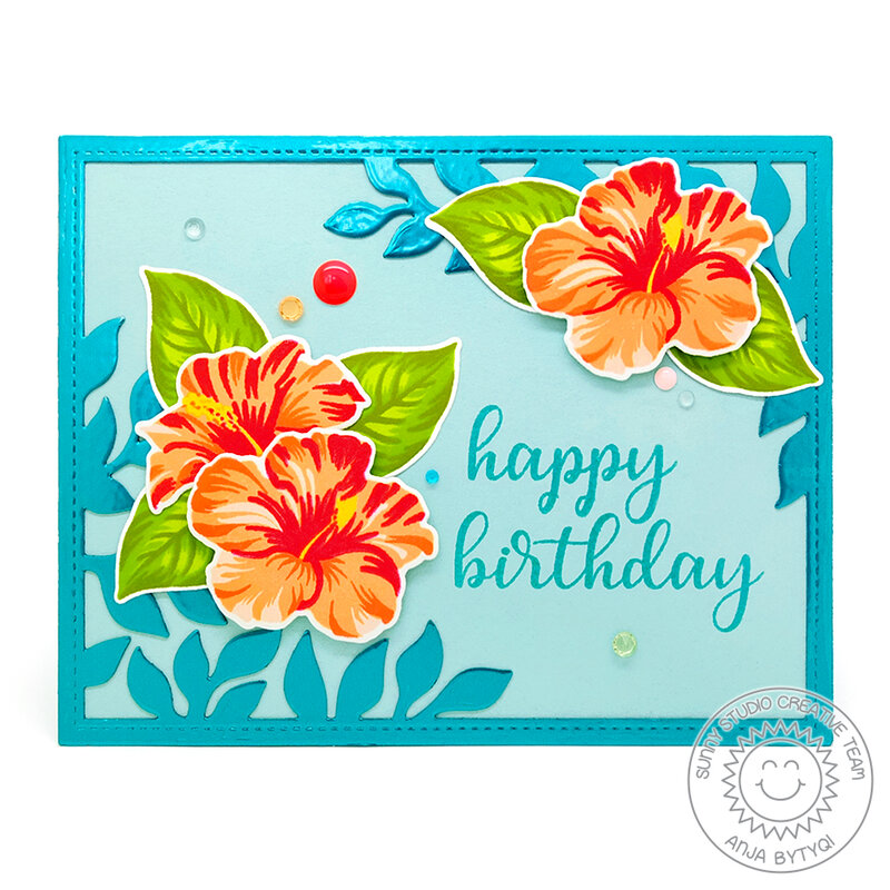 Sunny Studio Stamps Hawaiian Hibiscus Card by Anja