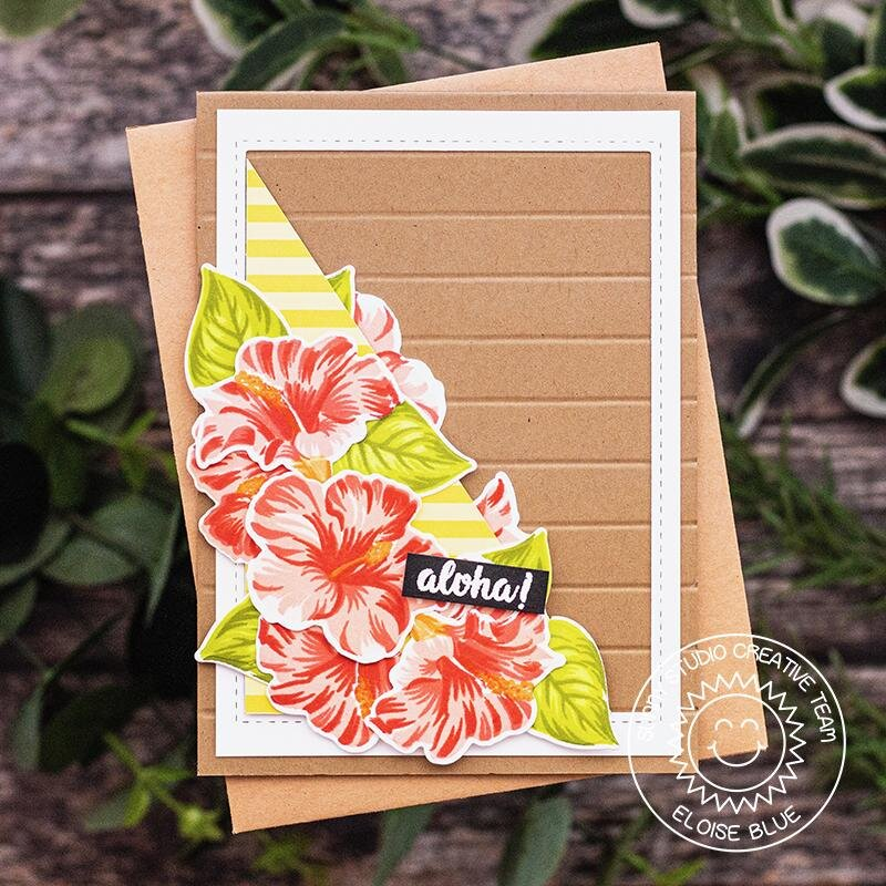 Sunny Studio Stamps Hawaiian Hibiscus Card by Eloise Blue