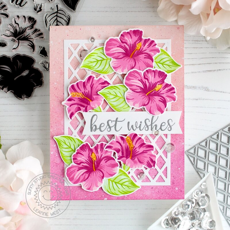 Sunny Studio Stamps Hawaiian Hibiscus Card by Leanne West