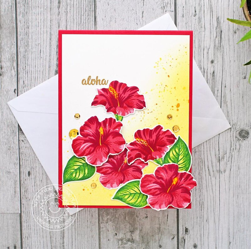 Sunny Studio Stamps Hawaiian Hibiscus Card by Vanessa Menhorn