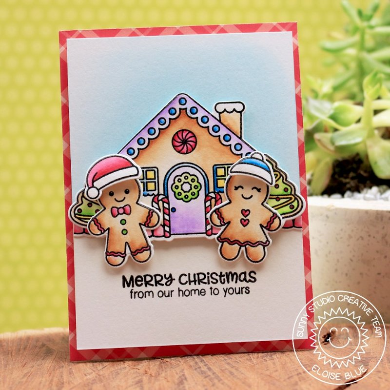 Sunny Studio Jolly Gingerbread Card by Eloise Blue