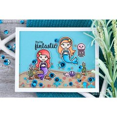 Sunny Studio Stamps Magical Mermaids Shaker Card by Juliana Michaels
