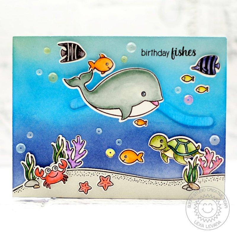 Sunny Studio Stamps Oceans of Joy Slider Card by Lexa Levana