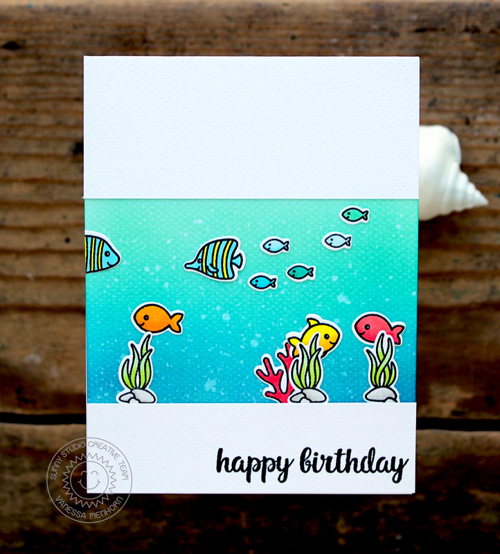Sunny Studio Oceans of Joy Card by Vanessa Menhorn