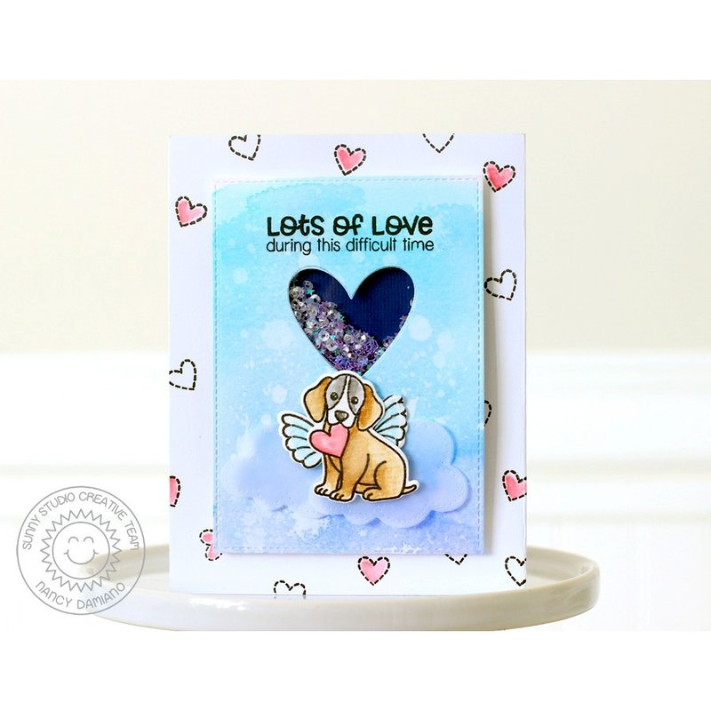 Sunny Studio Pet Sympathy Shaker Card by Nancy Damiano