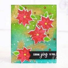Sunny Studio Petite Poinsettias Christmas Card by Lexa Levana