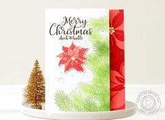 Sunny Studio Petite Poinsettias Christmas Card by Nancy Damiano