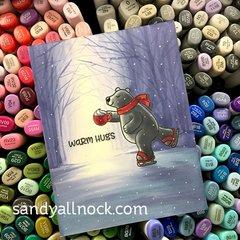 Sunny Studio Playful Polar Bears Card by Sandy Allnock