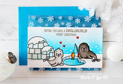 Sunny Studio Polar Playmates Christmas Card by