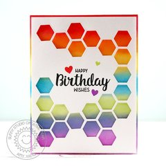 Sunny Studio Stamps Quilted Hexagon Card by Amy Yang