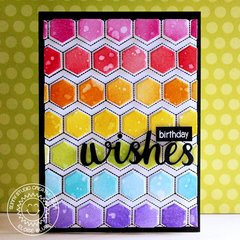 Sunny Studio Stamps Quilted Hexagon Card by Eloise Blue